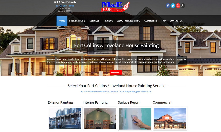 Fort Collins Web Design Company Mu0026E Painting