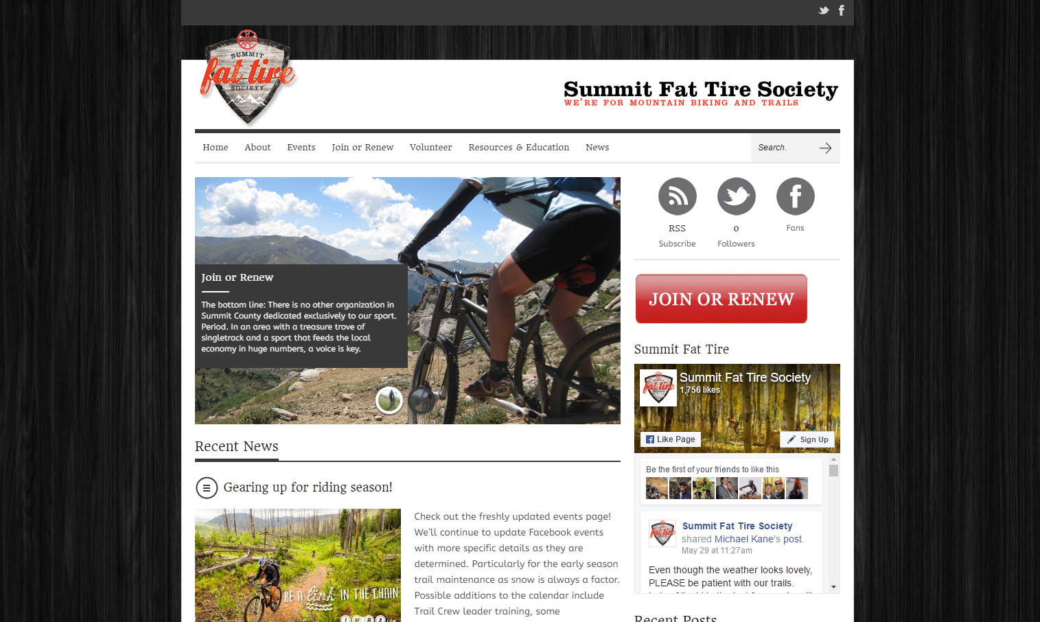 Summit Fat Tire Socity Web Design