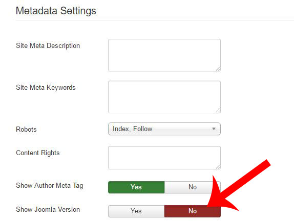 Remove Show Joomla version
